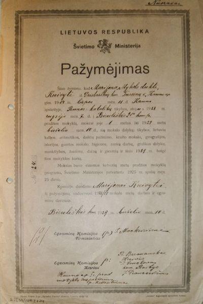 Biruliškės pradžios mokyklos mokinės M. Kreivytės mokslo pažymėjimas