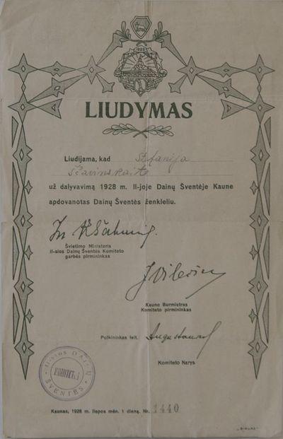Antrosios dainų šventės komiteto liudymas, išduotas Stefanijai Ščevinskaitei