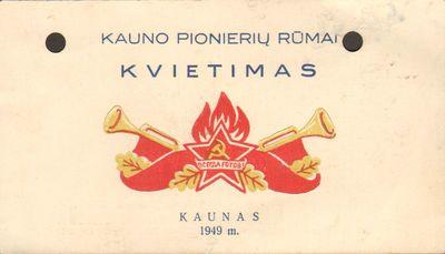 Kauno Pionierių rūmų kvietimas
