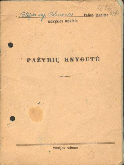 Veliuonos kaimo jaunimo mokyklos V klasės mokinės Stošiūtės Benės pažymių knygelė