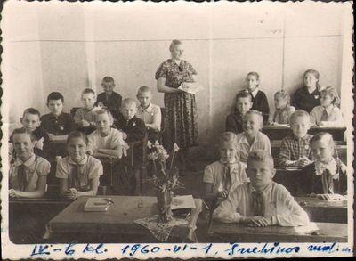 Švėkšnos vidurinės mokyklos VI b klasės mokiniai su mokytoja Agripina Barkauskiene
