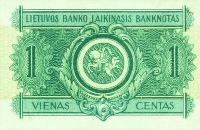 Banknotas. 1 centas. 1922 m. rugsėjo 10 d. Lietuva