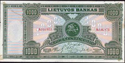 Banknotas. 1000 litų. 1924 m. gruodžio 11 d. Lietuva.