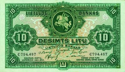 Banknotas. 10 litų. 1927 m. lapkričio 24 d. laida. Lietuva