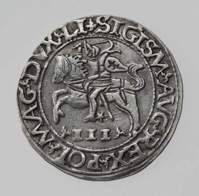 Moneta. Satyrinis trigrašis. Žygimantas Augustas (1544–1572). LDK