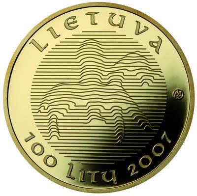 Moneta, proginė. 100 litų, skirta Lietuvos vardo minėjimo tūkstantmečiui. Lietuva