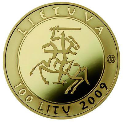 Moneta, proginė. 100 litų, skirta Lietuvos vardo minėjimo tūkstantmečiui (3). Lietuva
