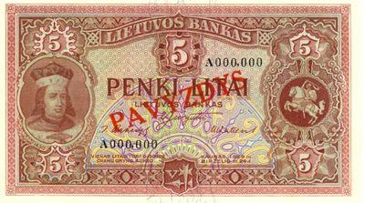 Banknotas, pavyzdys. 5 litai. Lietuva