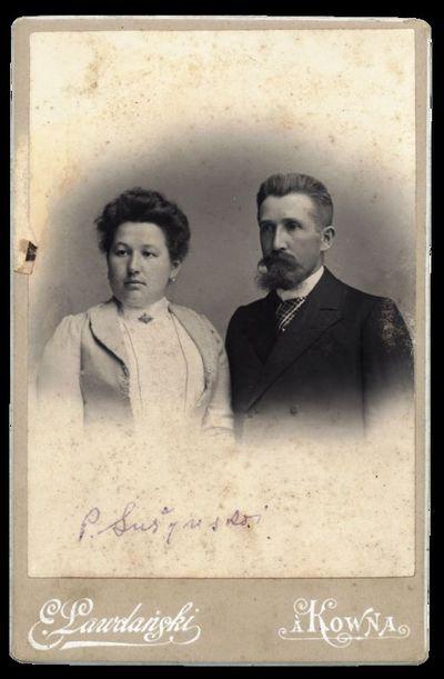 Sutuoktinių portretas su įrašu P. Sušynskai