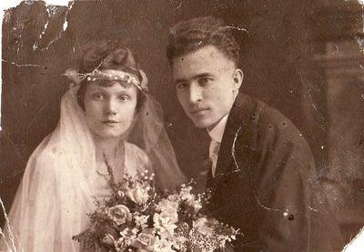 Bronislava Skripkauskaitė ir Jonas Žitkus vestuvių dieną