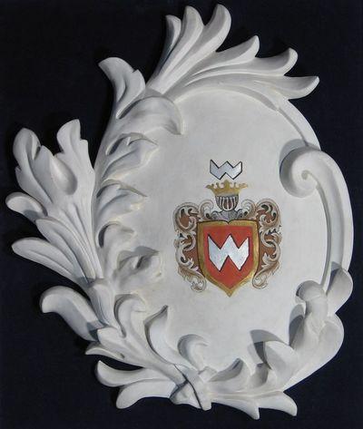 Gipsinis kartušas su didikų Goštautų giminės herbu