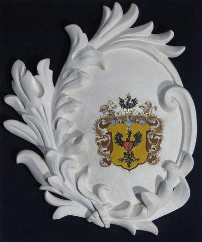 Gipsinis kartušas su kunigaikščių Radvilų giminės herbu