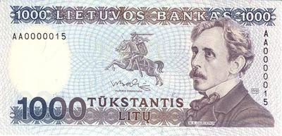 Banknotas. 1000 litų. Lietuva