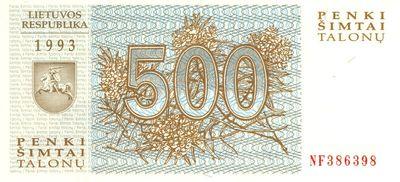 Banknotas. 500 talonų. 1993 m. Lietuva