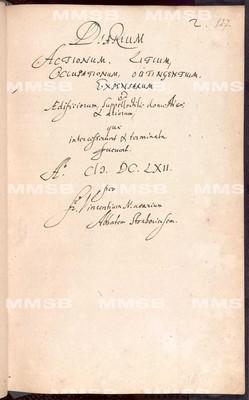 Diarium abbatis Strahoviensis 1661-1669