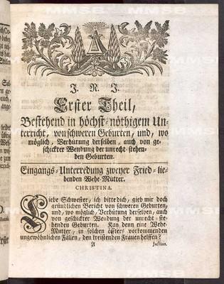 Die königliche preussische und Chur-Brandenburgische Hof-Wehe-Mutter [mit Anhang und Kontroversschriften]