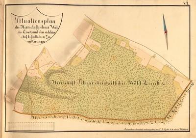 VII. Situationsplan des Herrschaft Pilsner Waldes Lisek und den sich hierbey befindlichen Zuackerungen