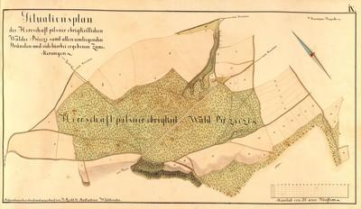 IX. Situationsplan des Herrschaft Pilsner obrigkeitlichen Waldes Břeczi sammt allen umliegenden Gründen und sich hierbei ergebenen Zuackerungen