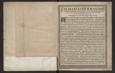 Zacharias Hermannus SS. Theologiae Doctor, Ecclesiarum Et Scholarum [...] Lecturis et Audituris Salutem.