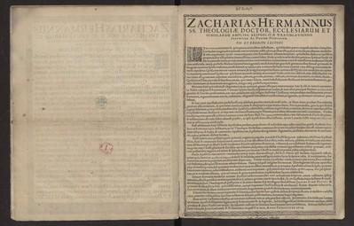 Zacharias Hermannus SS. Theologiae Doctor, Ecclesiarum Et Scholarum [...] Pio et Erudito Lectori.