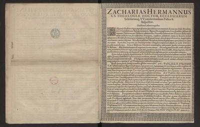 Zacharias Hermannus SS. Theologiae Doctor, Ecclesiarum Scholarumq [...].
