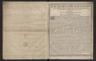 Zacharias Hermannus SS. Theologiae Doctor, Ecclesiarum Et Scholarum [...].