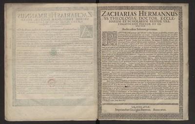 Zacharias Hermannus SS. Theologiae Doctor, Ecclesiarum Et Scholarum [...] Auditoribus Salutem precatur.