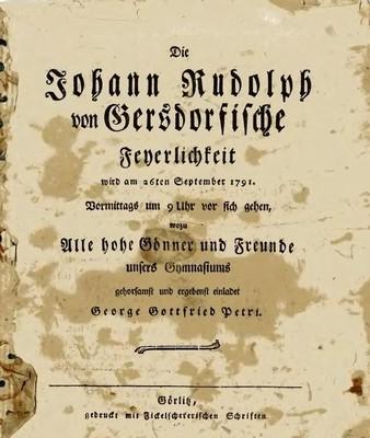 Die Johann Rudolph von Gersdorfische Feyerlichkeit wird am 26ten September 1791...