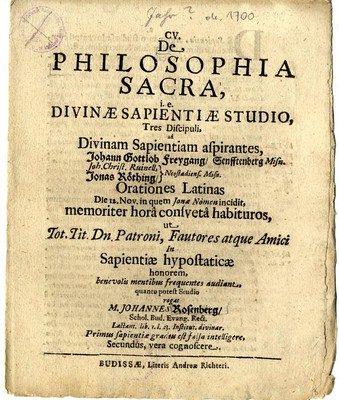 De Philosophia Sacra, i.e. Divinae Sapientiae Studio...