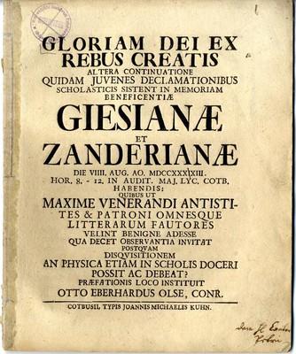 GLORIAM DEI EX REBUS CREATIS ALTERA CONTINUATIONE QUIDAM JUVENES DECLAMATIONIBUS SCHOLASTICIS SISTENT IN MEMORIAM BENEFICENTI?