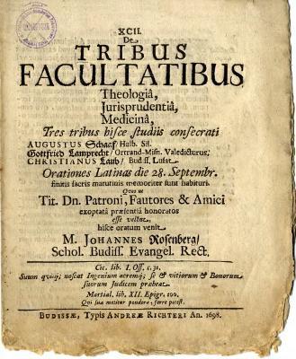 De Tribus Facultatibus Theologia, Jurisprudentiâ, Medicinâ....