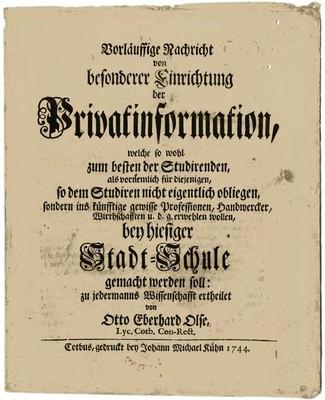 Vorläussige Nachricht von besonderer Einrichtung der Privatinformation ...