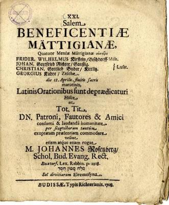 Salem Beneficentiae Mättigianae ...