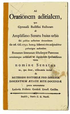 Ad Orationem aditialem, qua Gymnasii Budissini Recturam ab Amplissimo Senatu huius urbis....