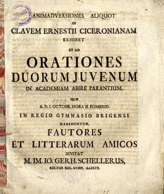 Animadversiones Aliquot in Clavem Ernestii Ciceronianam Exhibet et ad Orationes Duorum Juvenum in Academiam Abire Parantium ...