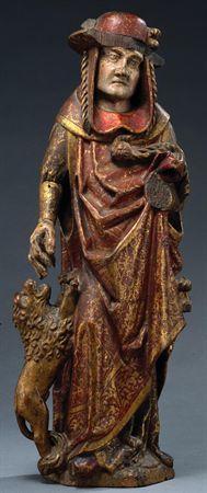 Escultura de vulto em madeira policromada, representando São Jerónimo. Apresenta-se em pé, com um leão à sua direita, erguido na direcção da mão. Veste panejamentos em que se destaca o manto trespassado na frente, e capuz sob chapéu cardinalício (está representado como conselheiro do Papa).