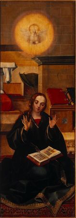 Virgem, da Anunciação (frente); Cristo a caminho do Calvário (costas) / Tríptico da Aparição de Cristo à Virgem
