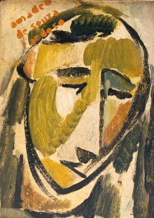 Máscara oval com a linha do rosto, nariz, olhos e boca estilizados em traços de preto, cabeça inspirada na arte negra, contendo algumas pinceladas aleatórias de verde azeitona e amarelo.