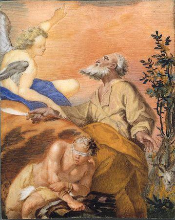 O Sacrifício de Abraão. Segundo o Antigo Testamento Abraão foi submetido a uma grande prova, o sacrifício do seu próprio filho Isaac. Nesta miniatura o autor representa o momento em que Abraão se prepara para degolar com um cutelo o filho, sendo interrompido pelo Anjo do Senhor. Em primeiro plano, observa-se Isaac semi-desnudado, de olhos vendados, sentado em cima de um rochedo, inclinado sobre um molho de lenha. Em segundo pano, Abraão com um cutelo na mão observa o Anjo que se representa do la...