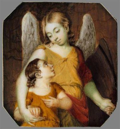 O Arcanjo Rafael de túnica amarela e manto vermelho segura na mão esquerda a égide castanha, enquanto com o braço direito envolve o tronco de Tobias que, ainda criança, enverga túnica alaranjada. Ambos se olham com ternura.