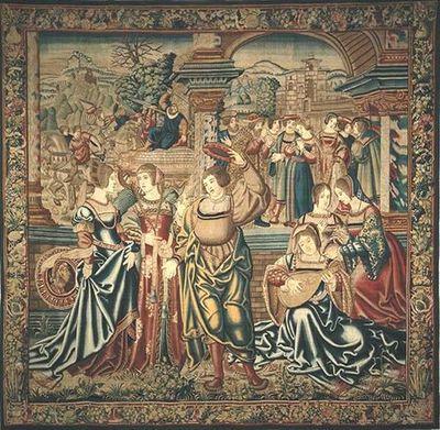 O terceiro painel da série de Édipo, mostra ao centro, a chegada à cidade de Tebas, onde Édipo se apresenta a um grupo de damas da corte, uma das quais tocando alaúde. A dama com um vestido de brocado vermelho representa possivelmente a sua futura mulher/mãe, Jocasta. Ao fundo, duas vinhetas com acontecimentos passados e futuros encontram-se justapostas uma à outra. À esquerda, Édipo, sem o saber, mata seu pai, Laio, com uma espada e à direita, um Édipo mais velho e de barbas, depois de saber a ...