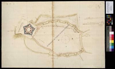 [Designio de la ciudad y castillo de Cremona del ingeniero fratin el qual dio el Duque de Terranova quando se le comunico lo desta fortificacion año de 1595 y añadio en ella el cavallero Tiburcio Espanochi un desinio de castillo de çinco baluartes, año de 1596] [Material cartográfico]