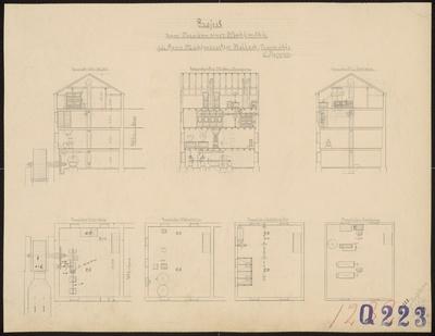 Technische Zeichnung : Projekt zum Neubau einer Mahlmühle für Herrn Mühlenbesitzer Bellach, Neumühle bei Reppen