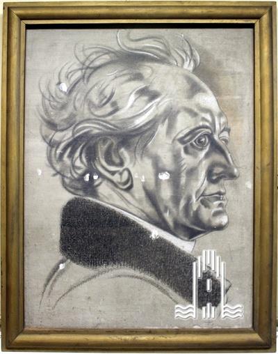 Bild von Goethe, eingefasst im Holzrahmen