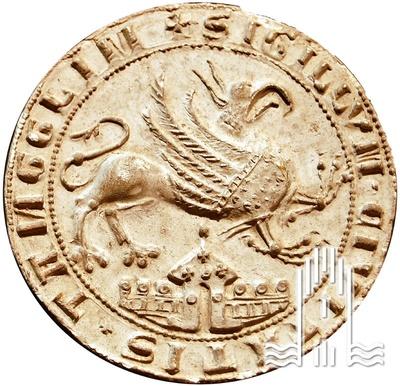 Abdruck des Anklamer Stadtsiegels von 1284. Am Rand des Abdruckes steht: SIGILLVM CIVITATIS TANCKLIM (Stadtsiegel Anklam).