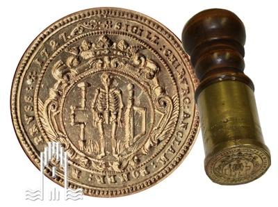 Siegelstempel der Anklamer Chirurgen, Messing, 1727, Länge: 12 cm