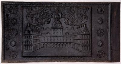 Ofenplatte mit der Darstellung von Schloß Moritzburg mit Ehrenhof