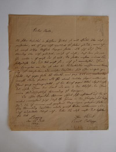 Brief von Ernst Ortlepp an Ferdinand Stolle