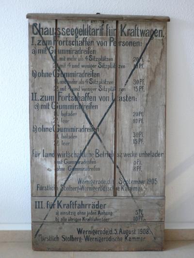 Chausseegeldtariftafel für Kraftwagen ehemals Chausseehaus Bolmke