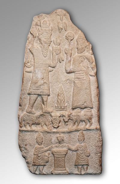 Stele mit Darstellung des Iuppiter Dolichenus und der Iuno Dolichena